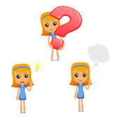 Set of funny cartoon housewife — Stock Vector