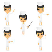 Set of funny cartoon nurse — Stock Vector