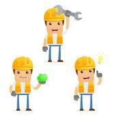 Set of funny cartoon builder — Stock Vector