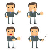 Funny cartoon businessman giving presentation — Stock Vector
