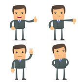 Funny cartoon businessman hold thumb up and down — Stock Vector