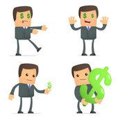 Funny cartoon businessman loves money — Stock Vector