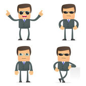 Funny cartoon businessman in glasses — Stock Vector