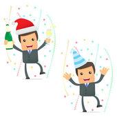 Funny cartoon businessman celebrating the holiday — Stock Vector