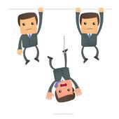 Funny cartoon businessman hanging — Stock Vector