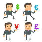 Cartoon businessman carries a tray of currency — Stock Vector