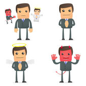 Businessman making a choice between good and evil — Stock Vector