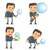 Funny cartoon businessman with magnifying glass — Stock Vector
