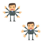 Funny cartoon businessman makes a choice — Stock Vector