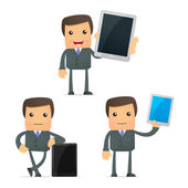 Funny cartoon businessman with a laptop — Stock Vector