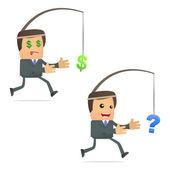 Funny cartoon businessman running for the dollar — Stock Vector