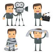 Funny cartoon businessman and cinema — Stock Vector