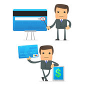Funny cartoon businessman with credit card — Stock Vector