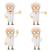 Funny cartoon scientist hold thumb up and down — Stock Vector