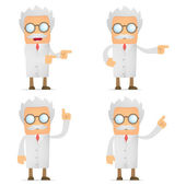 Funny scientist shows his finger to the side — Stock Vector