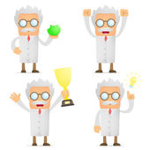 Funny cartoon scientist celebrates victory — Stock Vector