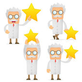 Funny cartoon scientist holding a favorite star — Stock Vector