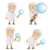 Funny cartoon scientist with magnifying glass — Stock Vector