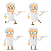 Scientist with a tray — Stock Vector