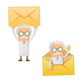 Funny cartoon scientist with a letter — Stock Vector