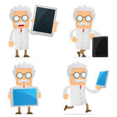 Funny cartoon scientist with a laptop — Stock Vector