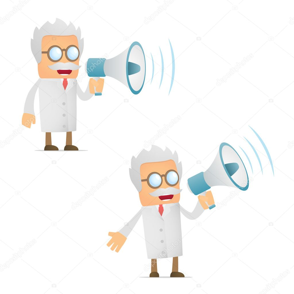 Set of funny cartoon scientist in various poses for use in presentations, etc. — Stock Vector #6672158