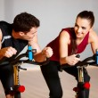 图库照片: Couple at gym