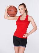 篮子球的女人 — 图库照片
