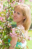 Portrait of a beautiful girl in apple tree flowers — Stock Photo