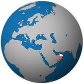 Oman flag on globe map — Stock Photo