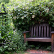 Stock Photo: Park Bench under overgrown bush