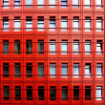 Orange metal building — Stock Photo
