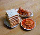 Full English Breakfast ingredients — Stock Photo