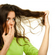 Woman with problematic hair — Stock Photo