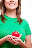 Kvinna med äpple — Stockfoto