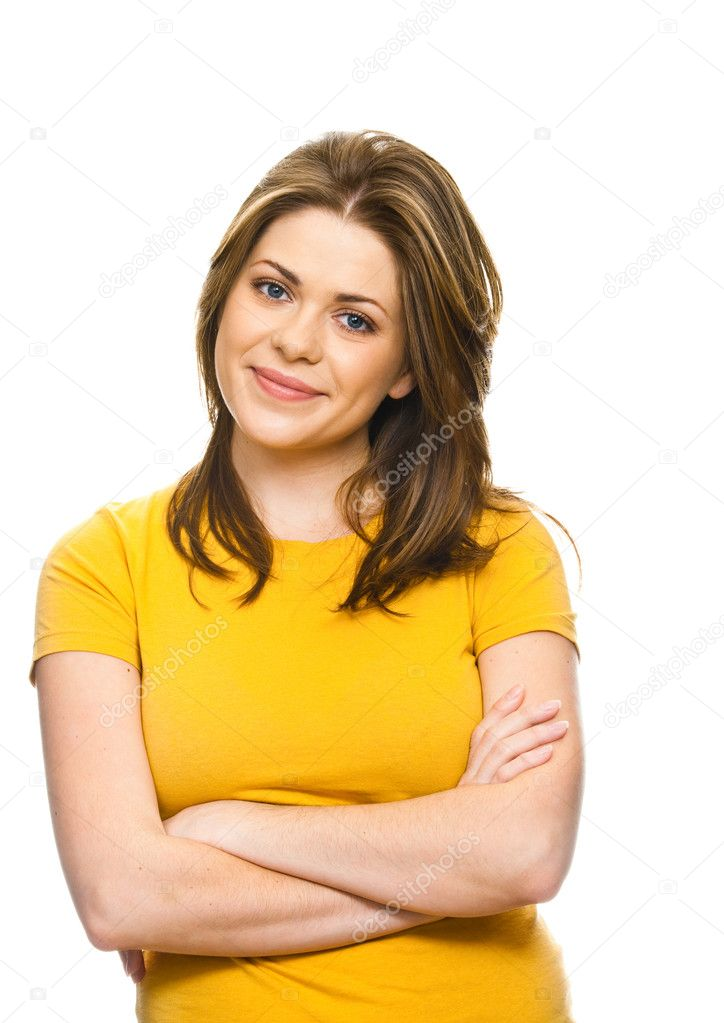 Beautiful student girl with her hands folded, against white background. — Stock Photo #6471184