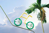 Ride bicycle to sky — 图库照片