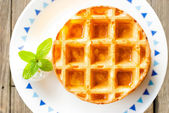 Waffle with min — Stock Photo