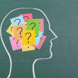 Human brain and colorful question mark — Stock Photo