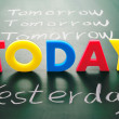 Today, yesterday, and tomorrow words on blackboard — Stock Photo