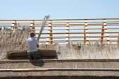 Worker is making the reed roof — Stock Photo