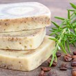 Stock Photo: Home-made soap with rosemary and coffee