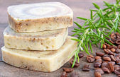 Home-made soap with rosemary and coffee — Stock Photo
