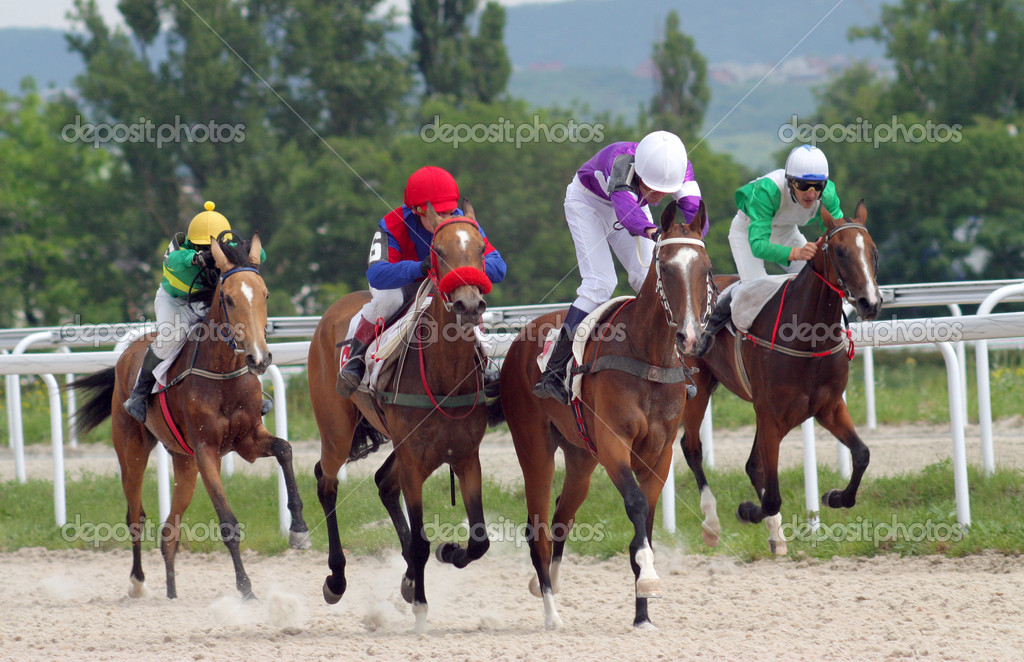  Horse race for the prize Afins Wuda,Caucasus.  Stock Photo #5849835