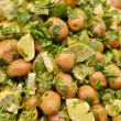Salad of green olives on market stand — Stock Photo