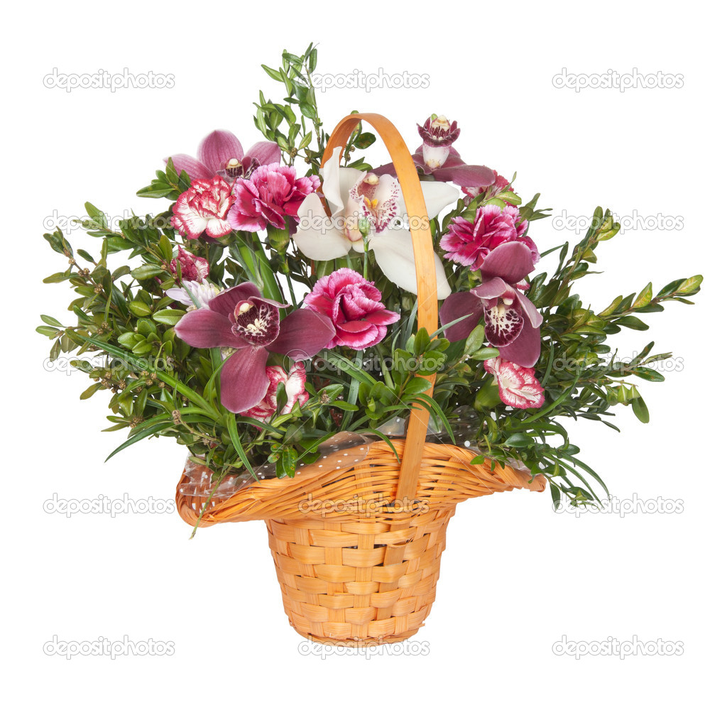 A bouquet of flowers in a basket isolated on a white background — Stock Photo #5493630