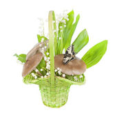 Bouquet of lilies of the valley, and mushrooms — Stock Photo
