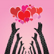 Human hands caring hearts — Stock Vector