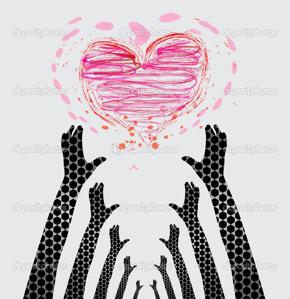 Human hands caring heart, symbol of love protection — Stock Vector #5577069