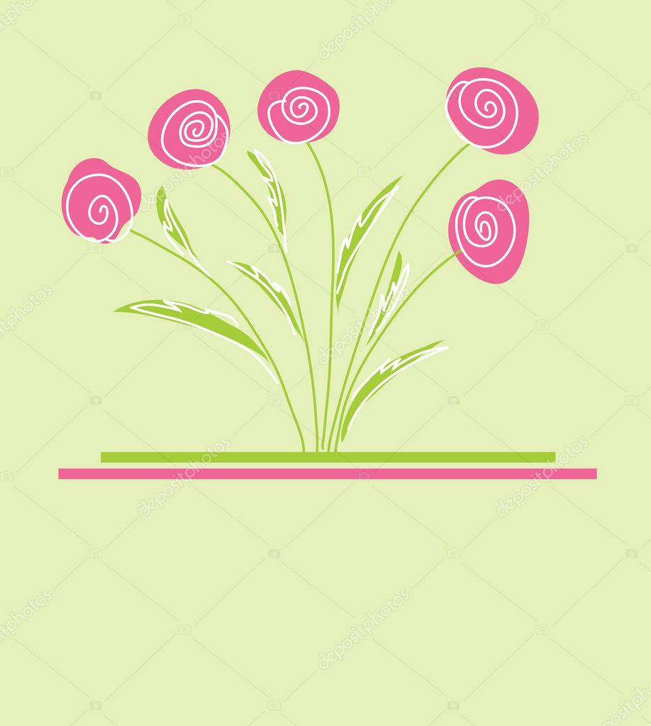 Floral invitation for life events with place for text  Stock Vector #5577421